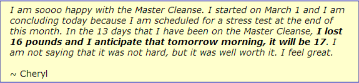 Review of the Master Cleanse Diet - Cheryl