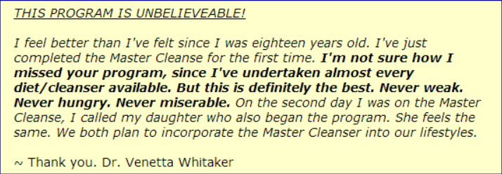 Review of the Master Cleanse program - whitaker